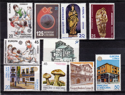 Andorre Espagnol 1989 1990 Années Complètes 199 à 208   Poste   Neuf ** MNH Sin Charmela - Ongebruikt