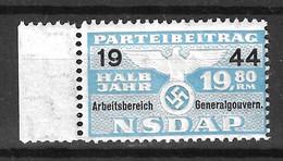 Allemagne/Gouvernement Général Timbre Fiscal Parti NSDAP Neuf ** MNH. TB. A Saisir! - Occupation 1938-45
