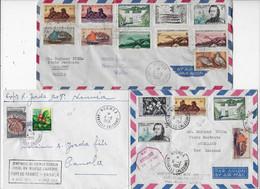 3 Belles Lettres NOUMEA NOUVELLE CALEDONIE 1957/59 Poste Aérienne Beaux Timbres - Covers & Documents