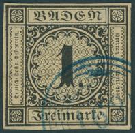BADEN 1a O, 1851, 1 Kr. Schwarz Auf Sämisch Mit Blauem Nummernstempel 162 (Zell A.H.), Allseits Breitrandig!, Kleine Fal - Baden