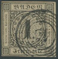 BADEN 1b O, 1851, 1 Kr. Schwarz Auf Braun, Nummernstempel 43, Voll- Breitrandig, Pracht, Mi. (320.-) - Baden