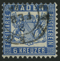 BADEN 19b O, 1865, 6 Kr. Preußischblau, Feinst, Mi. 90.- - Baden