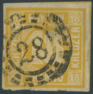 BAYERN 7 O, 1854, 18 Kr. Gelblichorange, Helle Stelle Sonst Breitrandig Pracht, Mi. 240.- - Bavaria
