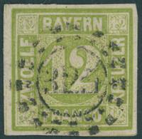 BAYERN 12 O, 1862, 12 Kr. Dunkelgelbgrün, Zentrischer MR-Stempel 325 (MÜNCHEN), Pracht, Gepr. Brettl, Mi. 100.- - Bavaria