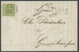 BAYERN 12 BRIEF, 1865, 12 Kr. Dunkelgelbgrün Mit Offenem MR-Stempel 325 Als Einzelfrankatur Nach Gunzenhausen, Prachtbri - Bavaria