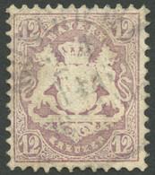 BAYERN 26X O, 1870, 12 Kr. Dunkelbraunpurpur, Wz. Enge Rauten, Kleine Korrektur, Wie Pracht, Mi. 1400.- - Bavaria