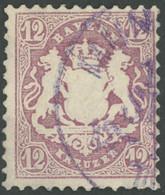 BAYERN 26Y O, 1870, 12 Kr. Dunkelbraunpurpur, Wz. Weite Rauten, Feinst (diverse Mängel), Gepr. Bühler, Mi. (6000.-) - Bavaria