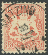 BAYERN 27Xb O, 1870, 18 Kr. Dunkelziegelrot, Wz. Enge Rauten, K1 MATZING, Pracht, Gepr. Sem, Mi. 240.- - Bavaria