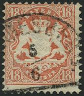 BAYERN 27Xb O, 1870, 18 Kr. Dunkelziegelrot, Wz. Enge Rauten, Pracht, Gepr. Stegmüller, Mi. 240.- - Bavaria