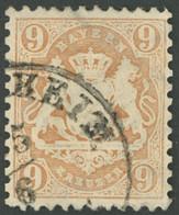 BAYERN 28X O, 1870, 9 Kr. Braun, Wz. Enge Rauten, Zähnung Etwas Korrigiert Sonst Pracht, Gepr. Brettl, Mi. 600.- - Bavaria