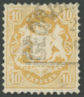 BAYERN 29Xb O, 1873, 10 Kr. Dunkelgelb, Wz. Enge Rauten, Feinst (2 Büge), Gepr. Sem, Mi. 500.- - Bavaria