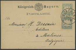 BAYERN 38a BRIEF, 1878, 5 Pf. Bläulichgrün Als Zusatzfrankatur Auf 5 Pf. Ganzsachenkarte Von MÜNCHEN Nach Belgien, Prach - Bavaria