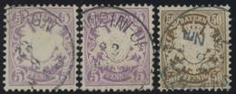 BAYERN 45a,b,46 O, 1878, 5 Pf. Lila Und Violett, 50 Pf. Dunkelorangebraun, Wz. 2, 3 Prachtwerte, Mi. 140.- - Bavaria
