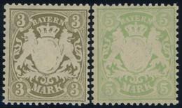 BAYERN 69/70x **, 1900, 3 Und 5 M, Mattorangeweißes Papier, Wz. 3, Postfrisch Pracht, Mi. 120.- - Bavaria