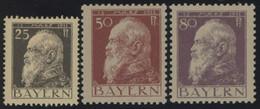 BAYERN 80,83,85I *, 1911, 25, 50 Und 80 Pf. Luitpold, Type I, Falzrest, 3 Prachtwerte, Mi. 103.- - Bavaria