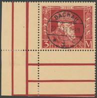 BAYERN 88II O, 1911, 3 M. Luitpold, Type II, Linke Untere Bogenecke, Stempel DACHAU, Pracht - Bavaria