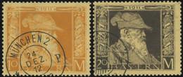 BAYERN 90/1I O, 1911, 10 Und 20 M. Luitpold, Type I, 2 Prachtwerte, Mi. 125.- - Bavaria