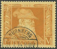 BAYERN 90II O, 1911, 10 M. Luitpold, Type II, Pracht, Mi. 400.- - Bavaria
