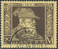 BAYERN 91II O, 1911, 20 M. Luitpold, Type II, Normale Zähnung, Pracht, Mi. 450.- - Bavaria