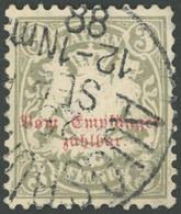 BAYERN P 7 O, 1885, 3 Pf. Türkisgrau, Wz. 3, Pracht, Mi. 130.- - Bavaria