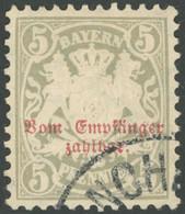 BAYERN P 8 O, 1885, 5 Pf. Türkisgrau, Wz. 3, Pracht, Gepr. Pfenninger, Mi. 90.- - Bavaria