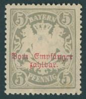 BAYERN P 11A *, 1888, 5 Pf. Gelbgrau Kleine Zähnungslöcher, Mehrere Falzreste, Pracht, Gepr. Dr. Helbig, Mi. 160.- - Bavaria