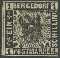 BERGEDORF 2 O, 1861, 1 S. Schwarz, Rechts Berührt Und Helle Stelle, Gepr. U.a. Dr. Mozek - Bergedorf