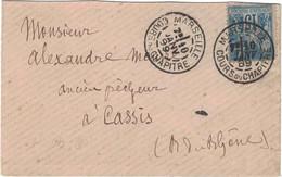 Bouches Du Rhône - Marseille - Cours Du Chapitre - Lettre Pour Cassis - Janvier 1989 - 1877-1920: Semi Modern Period