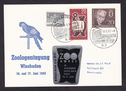 Germany: Postcard, 1962, 3 Stamps, Rare Cinderella Label Zoo Event, Zoology, Owl, Parrot (traces Of Use) - Lettres & Documents