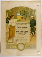 Barr Alsace Allemande Annexée.course Cycliste Du 16 Juin 1912.diplôme De Vainqueur. - Cyclisme