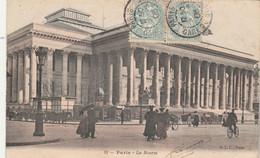 Yvert 111 Blanc X 2 Cachet PARIS GARE DU SUD OUEST 8/5/1905 Carte Postale La Bourse Pour Barentin 76 - Bahnpost