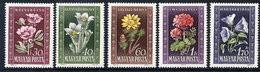 HUNGARY 1950 Flowers MNH / **.  Michel 1112-16 - Nuevos