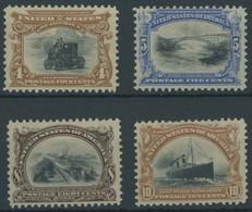 USA 134-37 *, Scott 296-99, 1901, 4 - 10 C. Panamerikanische Ausstellung, Falzreste, 4 Prachtwerte, $ 350 - Unused Stamps