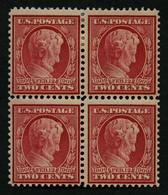 USA 175Ay VB **,* , Scott 369, 1909, 2 C. Lincoln, Wz. 1, Gezähnt L 12, Bläuliches Papier, Im Viererblock, 2 Werte Postf - Unused Stamps