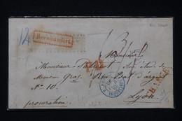 FRANCE / ALLEMAGNE - Cachet D'entrée Prusse Par Erquelines Sur Enveloppe En Chargé En 1863, à Voir Au Verso - L 96675 - Marques D'entrées