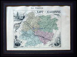 Departement Lot-et-Garonne Mit Teilansicht Von Miramont Und Dekorativer Personenstaffage, Farbiger Stahlstich Von M. Vui - Non Classificati