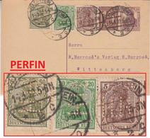 DR - 15 Pfg. Germania Ganzsache/A-Teil +Zusatz/Perfin Allenstein Wittenberg 1922 - Brieven En Documenten