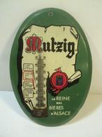 Ancien Thermomètre Publicitaire Bière Mutzig Tôle. - Alcools