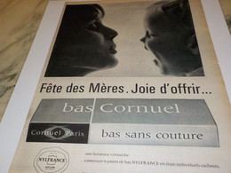 ANCIENNE PUBLICITE FETE DES MERES  LES  BAS CORNUEL   1962 - Otros