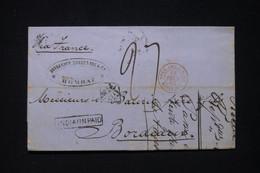 """INDE - Lettre De Bombay Pour La France En 1863, Cachet D'entrée En Rouge """" Poss.Ang.V. Suez Marseille """"- L 96687 - 1858-79 Crown Colony"""