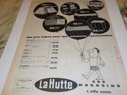 ANCIENNE PUBLICITE CAMPING MAGASIN LA HUTTE   1962 - Otros