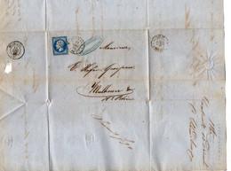 TB 2930 - 1860 - LAC - Lettre De SAARBRUCK OB FORBACH Pour MULHOUSE - 1849-1876: Periodo Classico