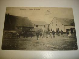 CPA - CHAMPLON ( TENNEVILLE LA ROCHE NASSOGNE SAINT ODE ) - CENTRE DU VILLAGE ( TOP ANIMATION AVEC ATTELAGE - 1910 ) - Tenneville