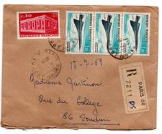 Concorde / Enveloppe Recommandée / De Paris / Pour Loudun / 16-7-1969 - 1961-....