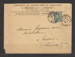 Lettre Affranchie Par Semeuse Lignée 15c Vert - 1877-1920: Semi Modern Period