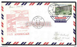 Lettre France 1er Vol Pan American 19 6 1960 - 1960-.... Storia Postale