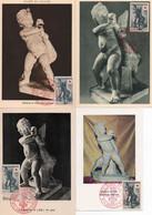 1V3 Cr  Lot De 4 Cartes Maximum L'enfant à L'oie Art Grec Sculpture Grecque Croix Rouge - 1950-59