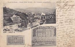 """63. ROYAT . CPA. """" GRAND HOTEL BRISTOL """". ARCHITECTURE. PLAN DE L'HOTEL ET DES ETAGES. ANNEE 1903 + TEXTE - Royat"""