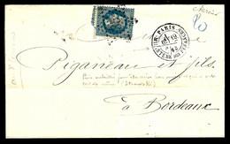 LETTRE DE PARIS À BORDEAUX - ÉTOILE N° 35 MINISTÈRE DES FINANCES - 19 AVRIL 1868 - - 1849-1876: Periodo Clásico