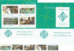 Tanzania 2017, His Highness The Aga Khan - 1957 Diamond Jubilee, Two S/S And Stamps Stripe - Tanzania (1964-...)